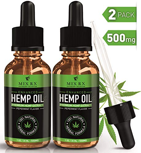 (2 Pack   60mL) Hemp Oil for Pain Relief Anxiety Sleep Mood Stress Support - 500mg - Best Pure Natural Organic Vitamins Fatty Acids Hemp Seed Extract Tincture Drops, Zero THC