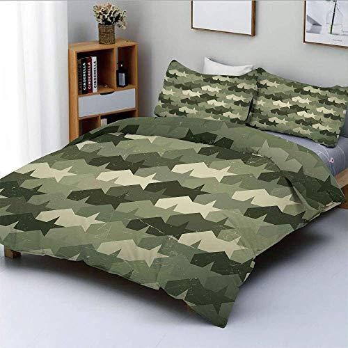 Set copripiumino, struttura grungy consumata vecchia forza militare stelle forma di mosaico vintage Set di biancheria da letto decorativo 3 pezzi con 2 fodere per cuscini, verde militare verde scuro c