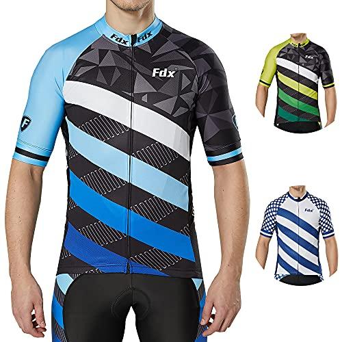 FDX Camiseta de ciclismo para hombre, edición limitada, transpirable, de manga corta (azul, mediano)