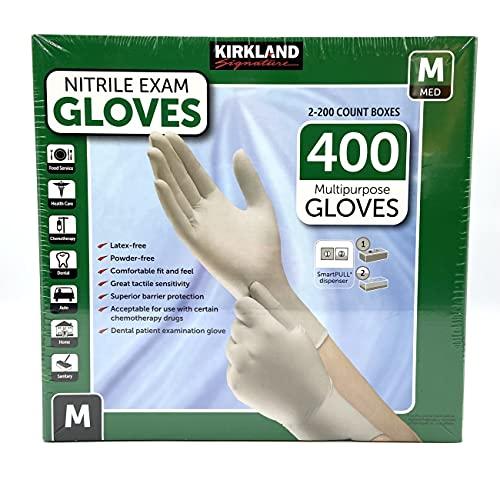 KIRKLAND SIGNATURE DnRbYi Nitrile Exam Multi-Purpose Medium Gloves Latex-Free, 400 Count