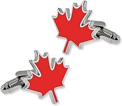 PinMart Red Canadian Mapel Leaf Jewlery Cufflink Set