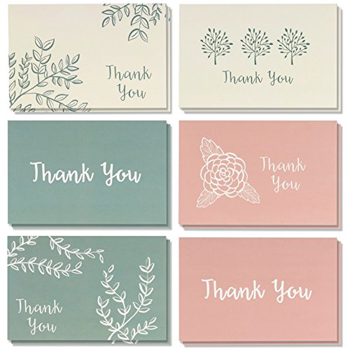 Blank Thank You Cards and Envelopes, 6 Minimalist Designs (4 x 6 In, 48 Pack)