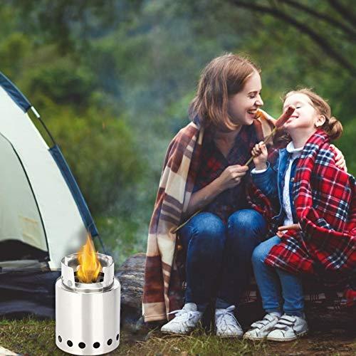 Nrkin Hornillo portátil para camping, carburador de madera, estufa de leña, camping de acero inoxidable para picnic, senderismo, camping