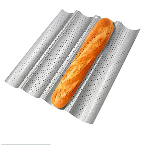 Proigtz French Bread Baking Pan, Baghette Baking Pan Bread Loaf Pans Perforated Tray Pan Loaf Baking Tray for French Bread Baking Pan 4 Waves Silver Steel Loaves Loaf Bake Mold Toast Cooking Bakers