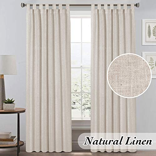 Light Reducing Natural Linen Curtains for Living Room/Bedroom Privacy Assured Semi Sheer Textured Flax Curtain Draperies Light Filtering Soft and Durable, Tab Top 2 Panels (52' W x 84' L, Angora)