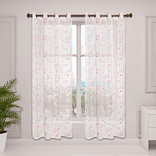 WOLTU VH6053rs-2, 2er Set Gardinen transparent Blumen Stickerei mit Ösen Leinen Optik, Doppelpack Ösenschal Vorhang Voile Fensterschal Dekoschal für Wohnzimmer Schlafzimmer, 140x225 cm, Rosa
