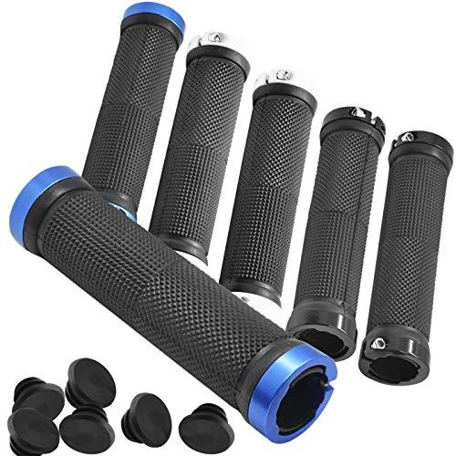 Zuzer Bike Lenker Griffe, 3 Paar Fahrradgriffe 22mm aus Rutschfestem Gummi Sportliche Lenkergriffe Fahrradgriffe Blau Fahrrad Griff mit Aluminiumschloss(Blue Black White)