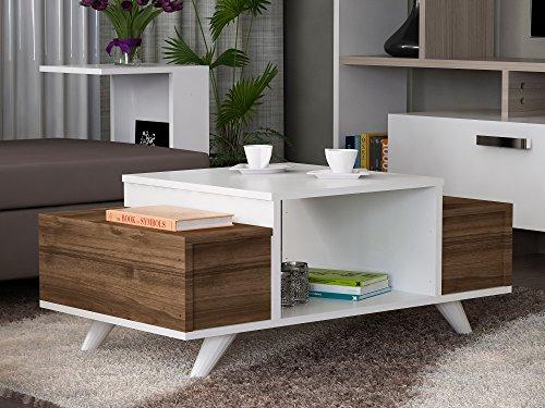 Alphamoebel 4330 Eriberto Couchtisch Wohnzimmertisch Beistelltisch Kaffeetisch Holz, Weiß Walnuss, mit Ablagefach, Türklappen, 90 x 43,8 x 60 cm