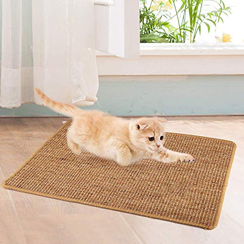 PopHMN Cat Scratching Mat, Sisal Natural Cat Scratch Mat Protege alfombras y sofás, Garras de molienda Cat Antideslizantes (Varios tamaños)