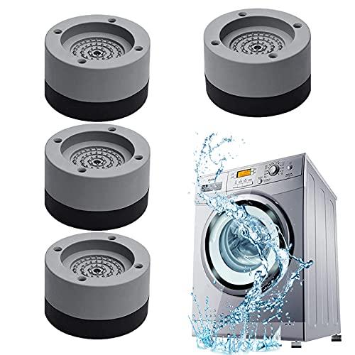 Vibrationsdämpfer,4 Stück Waschmaschine Fußpolster Anti Rutsch Gummi Fußpolster Verstellbares Gummi Fußpolster ntivibrationsmatte, für Waschmaschinen Trockner Kühlschrank (Gray)