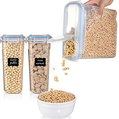 Contenedor de cereales de plástico, 1 pieza caja de almacenamiento de alimentos | dispensador de alimentos secos | con tapas | para comida de mascota/arroz/pasta/cereal/azúcar/café, 2,5 L