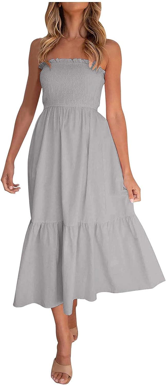 Casual Summer Dress for Women,Beach Sleeveless Off Shoulder Solid Boho Dress Loose Empire Waist Tube Top Maxi Dress
