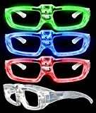 LED Light Up Sound Activated Eye Glasses- Assorted Color 4 Pack (Assorted)