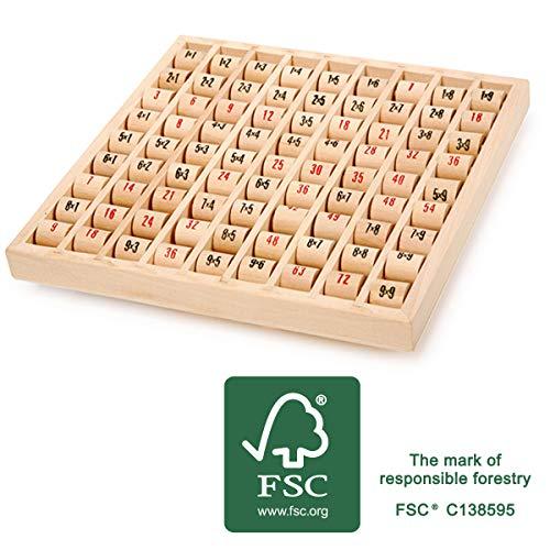 small foot 11059 Multiplizier-Tabelle aus Holz, FSC 100%-Zertifiziert, Lernspiel zum Erlernen des kleinen 1x1 Spielzeug, Mehrfarbig