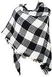 VIVIAN & VINCENT Women's Buffalo Plaid Blanket Winter Scarf Warm Wrap Oversized Shawl Cape Black and White