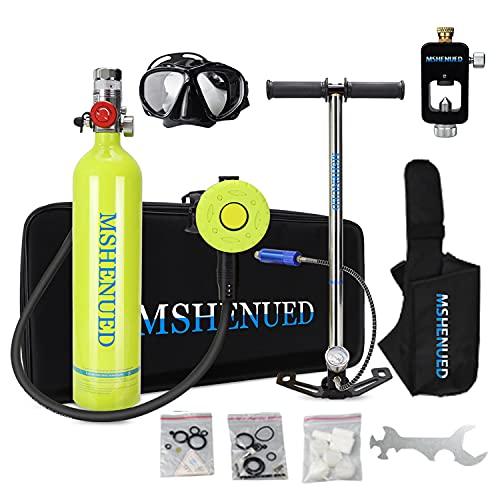 XSGDMN Mini Equipo de Buceo Botellas de Buceo, Mini Tanque Equipo de Oxígeno para Bucear Bombona Oxigeno Portatil Mini Botella de Buceo de 1 litro con Capacidad de 15-20 Minutos Buceo De Oxígeno del