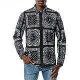 Kobay Chemise Casual Homme, Hommes Chemise Hawaïenne à Manches Longues Décontracté Shirt Casual Tops Funky Slim Fit Chemises Imprimé Floral