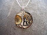 Bloody devil Collar con Colgante de Cristal con diseño de Diablo Geek, Pirata 13, Joyas sextantes y brújula, diseño Vintage