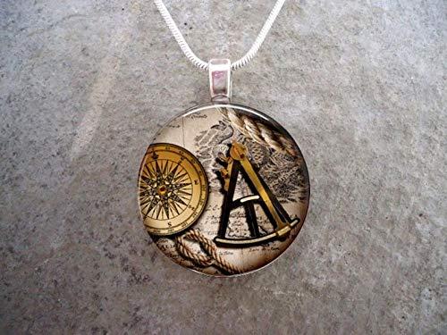 Bloody devil Geek Art Picture Colar, Pirata 13 - Joias de sextante e bússola - Colar com pingente de vidro - Tema vintage