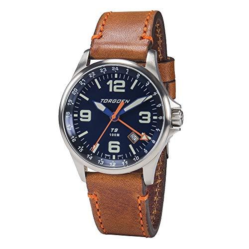 Torgoen T9 Matte Blue GMT Pilot Watch for Men, Swiss Quartz, Mineral Crystal with Brown Leather Strap