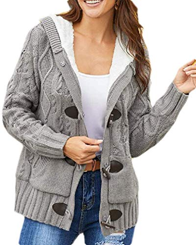 Dames fleece Toggle Cardigan Knit Hooded Sweater Coat Outwear