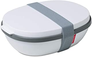 Rosti Mepal RST76400W ELLIPSE Duo Reusable Meal Prep Lunch Box, 22.5 x 17.5 x 7.5 cm, White