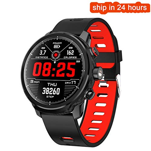Forecast Smart Watch Men IP68 Waterproof Multiple Sports Mode Heart Rate Weather Forecast Bluetooth Smartwatch Long Standby Outdoor Sports Watch, rood