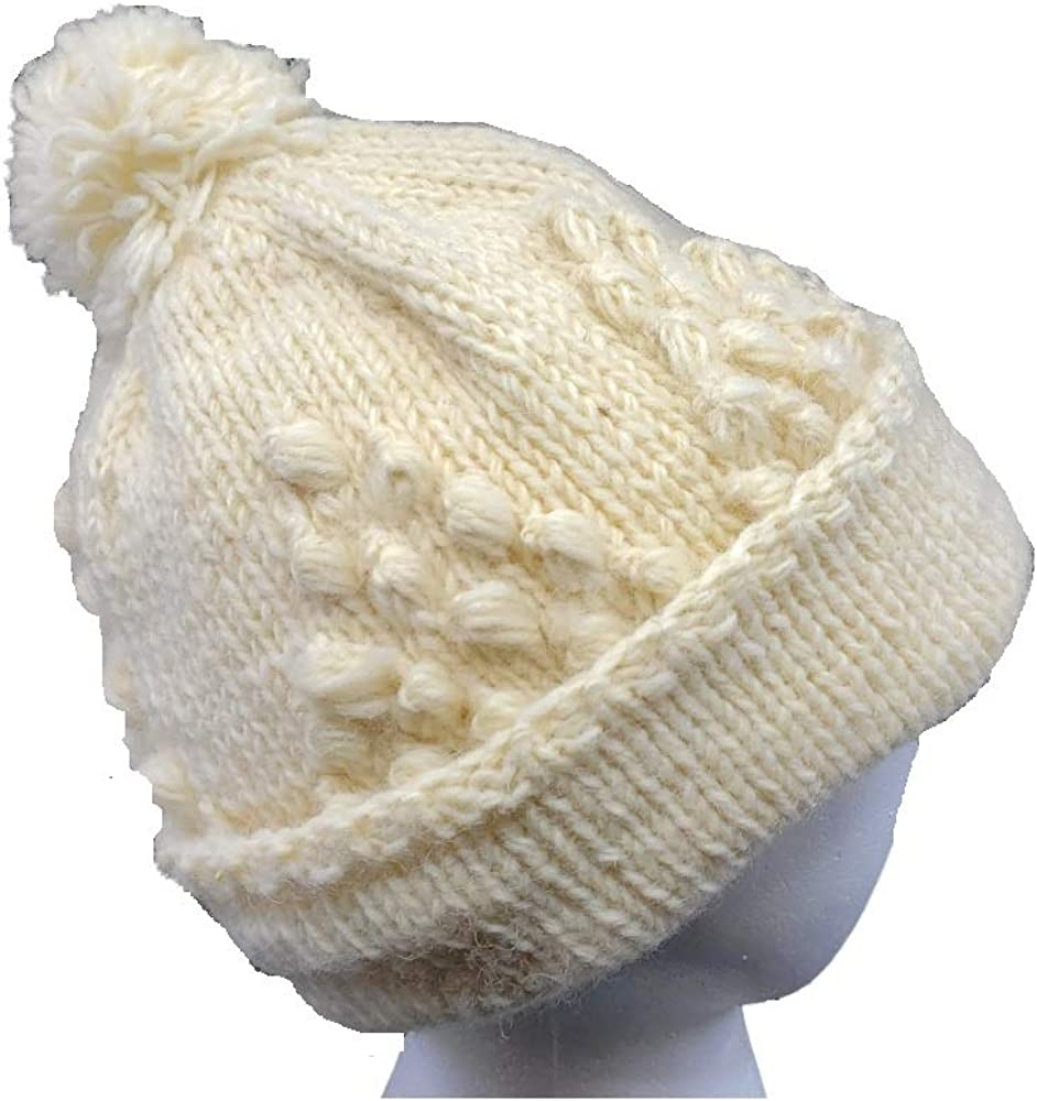 Hand Knit Warm Woolen Hat Beanie Fleece Lined + Matching Texting Gloves Made in Nepal (Ivory)