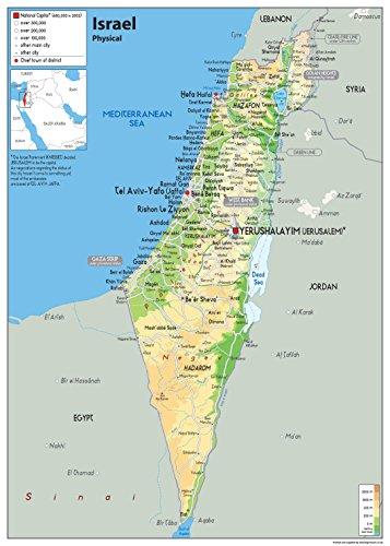Israel Physikalische Wandkarte – Papier laminiert [GA] A2 Size 42 x 59.4 cm farblos