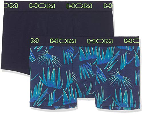 HOM Herren Bahia #2 Boxer Briefs 2p Badehose, Mehrfarbig (Imprimé Palmes Fond Marine + Marine Uni D012), X-Large (2er Pack)