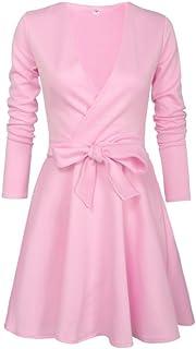7TECH Deep V Sexy Bow Thong Dress, Pink
