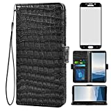 Asuwish Compatible with Samsung Galaxy S6 Edge Plus Wallet Case with Tempered Glass Screen Protector and Flip Cover Card Holder Cell Phone Cases for Glaxay S6edge + S 6edge 6s 6 Edge+ Women Men Black