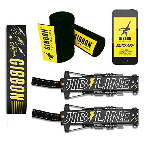Gibbon 18857 Jibline XL 2019 – Juego de Accesorios para Slackline (25 m, Incluye 2 carracas de 20 m y 2 Cintas de carraca de 2,5 m con carraca), Color Negro