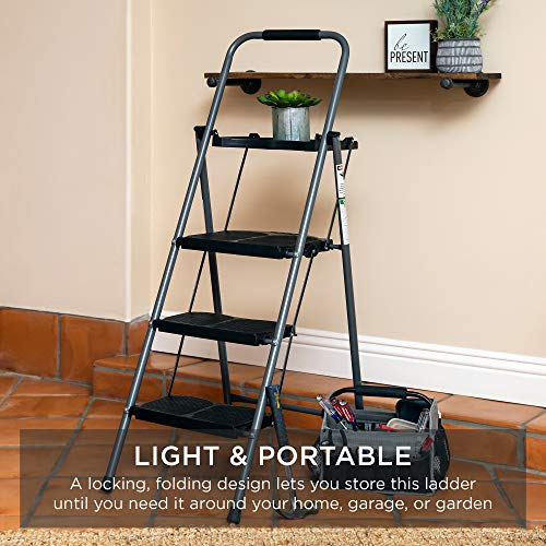 Best Choice Products 3-Step Ladder, Portable Folding Anti-Slip Step Stool w/ Utility Tray, Hand Grip, Rubber Feet Caps, 330lb Capacity