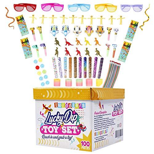 THE TWIDDLERS 100 Juguetes de Fiesta de Cumpleaños con Caja - Rellenos de Piñata