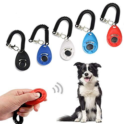 Ewolee 5 Pack Clicker Addestramento Cani - 5 Colori Clicker con 5 Cinghia di Polso per Educazione Addestramento di Animali Cane Gatto