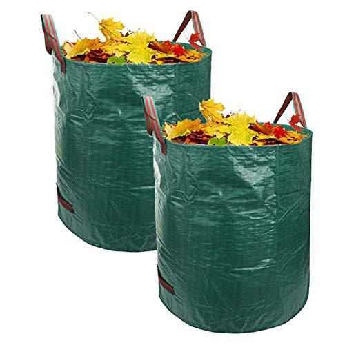 LSXIAO 2 Piezas Bolsas De Basura De Jardín, Polipropileno 72 Galones De Capacidad con 3 Asas De Nailon Encajar Proyectos De Jardín, Escombros De Jardín, Proyecto De Césped, Camping Al Aire Libre