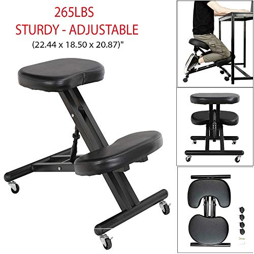 265Lbs Sturdy Ergonomic Kneeling Chair Hydraulic Automatic Adjusting Working Stool Knee Rest with Pu Leather and Sponge Make Your Body Comfortable Best Choice for You