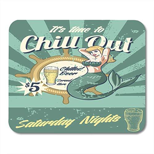 Mauspads fisch bier meerjungfrau taverne bar zeichen nautisch happy mouse pad für notebooks, Desktop-computer matten büromaterial