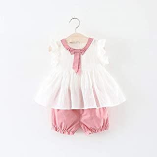 TZOU Girl Children Kids Cotton Sleeveless Bowknot Collar Tops+Shorts Two Piece Suit Outfit Pink 70cm