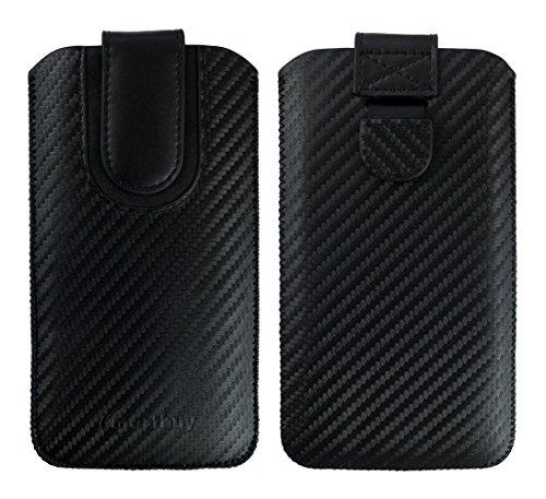 emartbuy Schwarz/Schwarz Premium PU Leder Carbon Fibre Finish Slide in Pouch Hülle Cover Hülsenhalter Hulle (Größe LM4) mit Pull Tab Mechanismus Kompatibel mit Smartphones Aufgeführt Unten