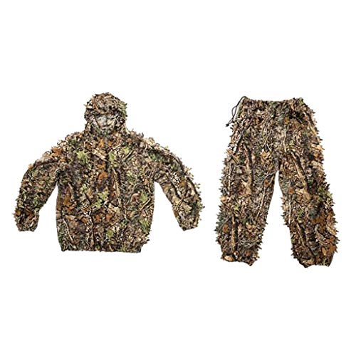 SM SunniMix Professional Ghillie Suit 3D Leaf Woodland Camo Youth Adult Lightweight Clothing Suits for Jungle Hunting, Wildlife Photography, Hiking,Camping - Kids