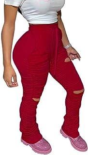 Yisism Women's Slim Drawstring Ruched Sweatpant Ripped Waist Distressed Pants