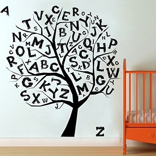 I220 Wall Decal Vinyl Sticker Art Decor Design Tree Wood Alphabet Letters Kids Room Develop School Teach Nursery by DecorWallDecals