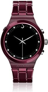 ساعة أنيقه مع سير المنيوم وإطار دائري بلاستيك من الفجر/ ديجيتال أنالوج دبليو بي-20 اللون الأحمر الداكن