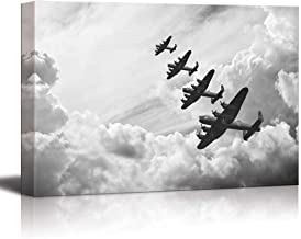 Canvas Prints Wall Art - Black and White Retro Image of Lancaster Bombers from Battle of Britain in World War 2 | Modern Wall Decor Stretched Gallery Canvas Wrap Print & Ready to Hang - 16