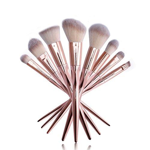 Bluelover Ucanbe 8Pcs/Set Rose Or Métallisé Brosses Maquillage Set Poudre Fard À Paupières Brosse À Sourcils Kit