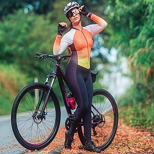 Damen Triathlon Radfahren Jumpsuit Hose Langarm Fahrrad Jersey Sets Bike Sport Eng Running Skinsuit Kleidung (Color : 1, Size : X-Small)