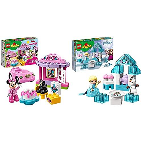 LEGO DuploDisney LaFestaDiCompleannoDiMinnie, Set Con Gatto E Topo, Automobilina E Torta Grandi Mattoncini & DuploPrincess IlTeaPartyDiElsaEOlaf Set Da Costruzione Con Mattoncini Grandi