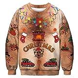 BFBMY Unisex Uomini Donne 2020 Brutto Natale Maglione Santa Elf Divertente Natale Falso Capelli Jumper Autunno Inverno Top Abbigliamento All'ingrosso (Colore: 027, Taglia: XL 81 95) kg